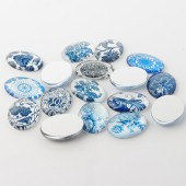 Cabochon sticla oval 18x13mm mix motive alb-albastre (1buc)