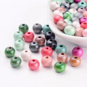 Margele lemn mix pastel 9x8mm - 250buc