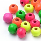 Margele lemn rotunde 8mm mix NEON - 250buc