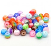 Margele rasina 6mm cu dungi multicolore mix - 50buc