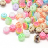 Margele rasina 8mm cu dungi multicolore mix - 30buc